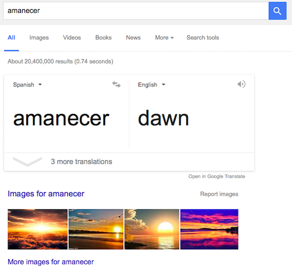 automatic translation in Google Search